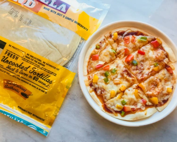 Quick and Easy 5 Minute Tortilla Pizza